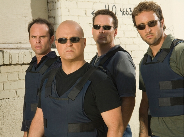 THE SHIELD: L-R: Walton Goggins, Michael Chiklis, David Rees Snell and Alex Laughlin. CR: Prashant Gupta / FX 925