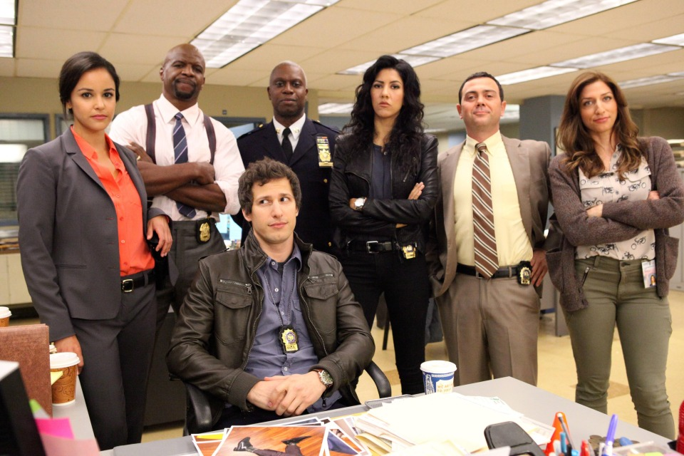 """BROOKLYN NINE-NINE: From Emmy Award-winning writer/producers of """"Parks and Recreation"""" and starring Emmy Award winners Andy Samberg (third from L) and Andre Braugher (C), BROOKLYN NINE-NINE is a new single-camera workplace comedy about what happens when a hotshot detective (Samberg) gets a new Captain (Braugher) with a lot to prove. The new single-camera workplace comedy BROOKLYN NINE-NINE premieres this fall on FOX. Also pictured L-R: Melissa Fumero, Terry Crews, Stephanie Beatriz, Joe Lo Truglio and Chelsea Peretti. ©2013 Fox Broadcasting Co. Cr: Beth Dubber/FOX"""