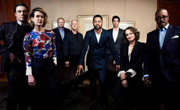 """PHOTO MOVED IN ADVANCE AND NOT FOR USE - ONLINE OR IN PRINT - BEFORE JAN. 17, 2016. -- Cast and producers of """"The People v. O.J. Simpson: American Crime Story,"""" a new FX mini-series, at the Four Seasons in New York, Dec. 7, 2015. The show's 10 episodes chronicle the events of 20 years ago, from the discovery of the murder scene at Nicole Brown Simpson's home through the months-long criminal trial. From left: John Travolta, Sarah Paulson, Brad Simpson, Ryan Murphy, Cuba Gooding Jr., David Schwimmer, Nina Jacobson and Courtney B. Vance. (Jesse Dittmar/The New York Times)"""