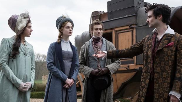 Escena de Mary Shelley con los actores Elle Fanning, Bel Powley, Douglas Booth, Tom Sturridge