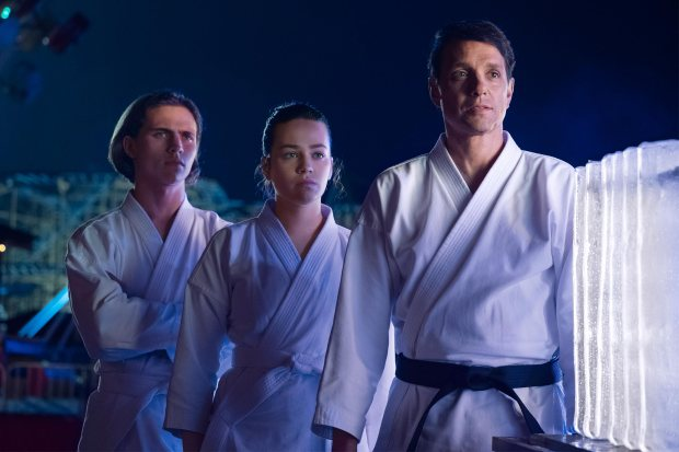 Cobra Kai Pictured: Tanner Buchanan, Mary Mouser, Ralph Macchio